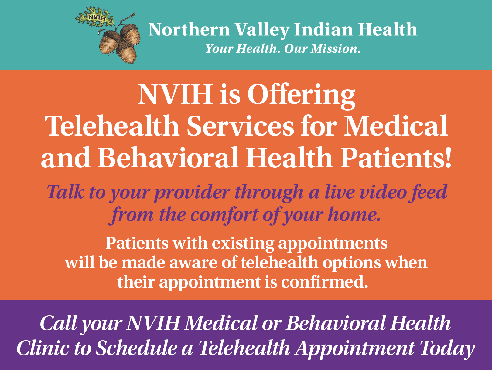 NVIH is offering Telehealth services!